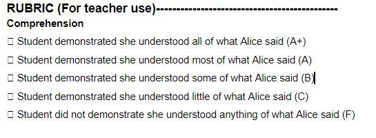 Alice rubric